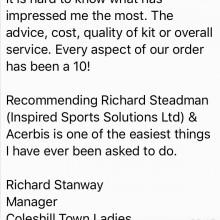 Coleshill Town Ladies Football Club Testimonial I Inspired Sports Solutions Ltd